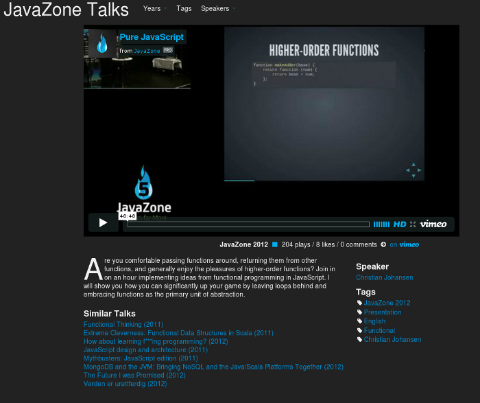 Video site screenshot